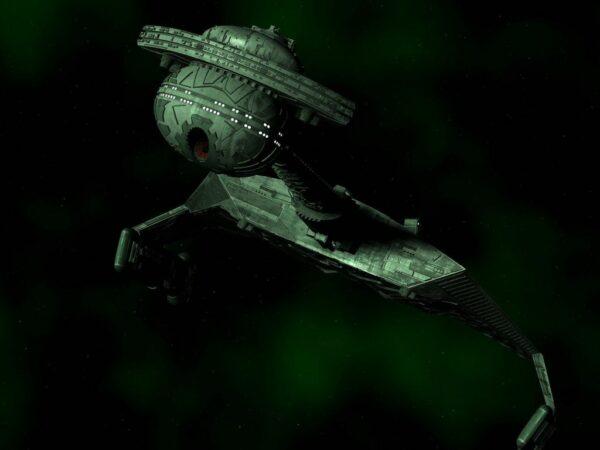 A Klingon Crusier moving at high warp